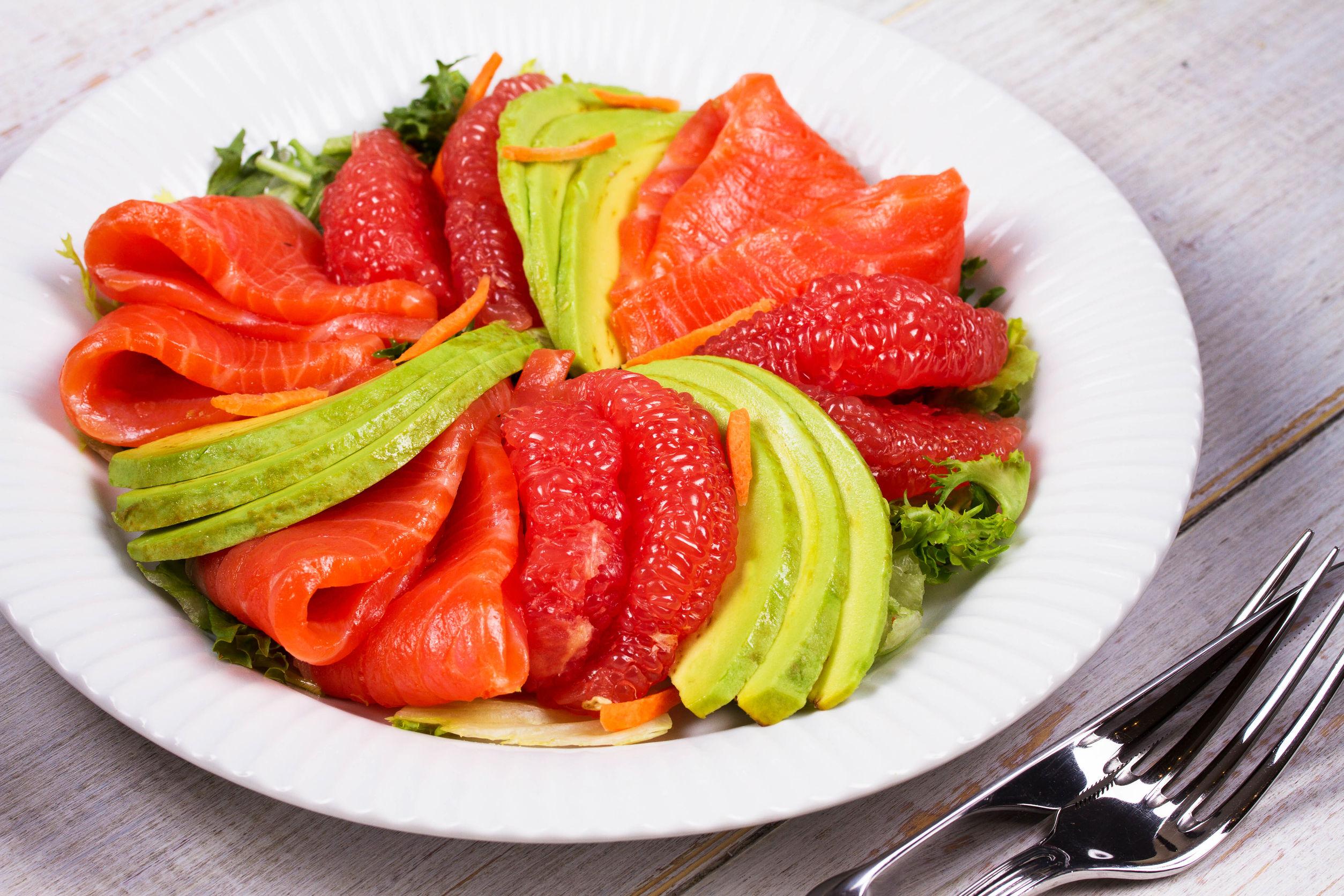 Salmon & Avocado Salad with Citrus Dressing