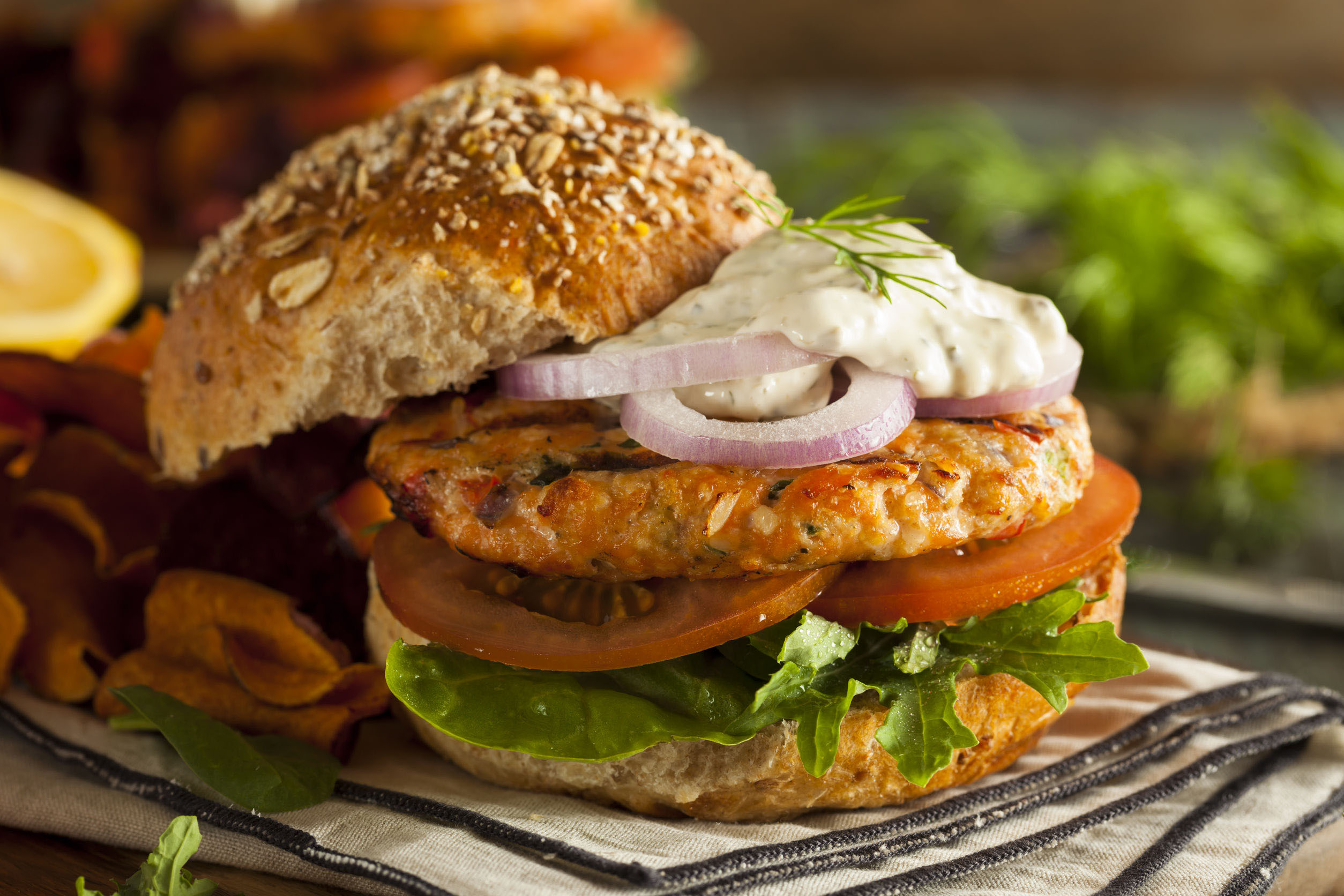 Salmon Burger with Tartare Sauce